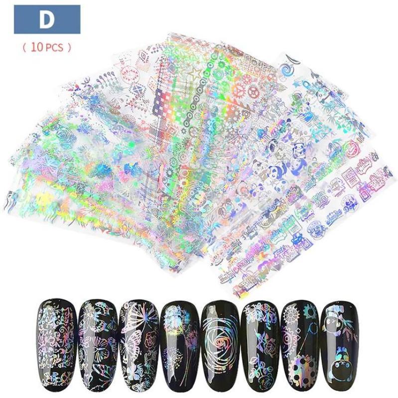 Set 10-20 tấm foil dán trang trí móng holographic 4 x 20cm