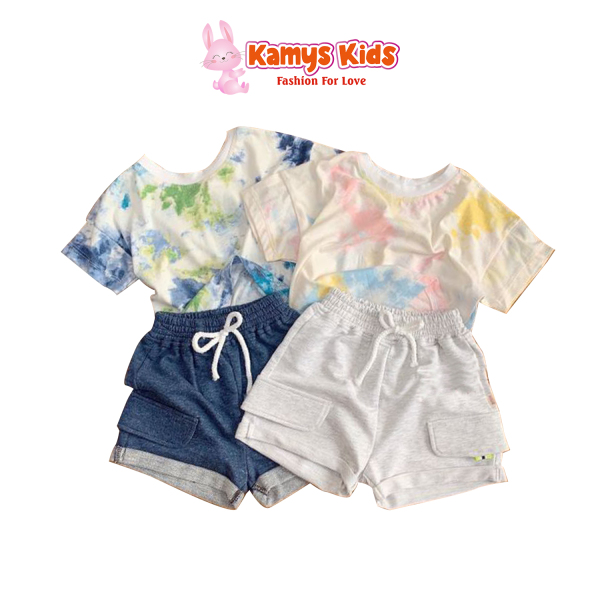 Giá bán Set bộ loang quần sooc cho bé, Chất liệu cotton 4 chiều, mềm mịn thấm hút mồ hội, quần da đanh mịn giúp bé vận động thỏa mái