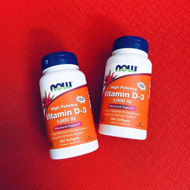 Vitamin D3   Now Vitamin D3 1000 IU 180 - 360 viên - Tăng Đề Kháng - Chính Hãng - Muscle Fitness