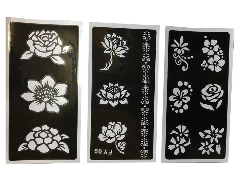 combo 03 miếng khuôn vẽ henna hoặc inkbox tốt nhất
