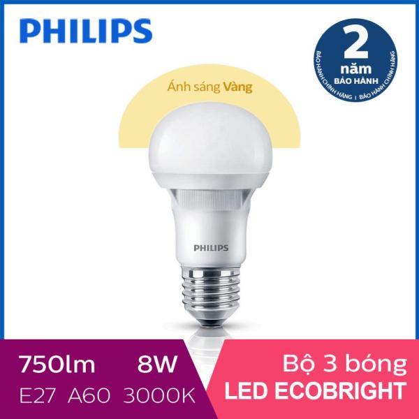 Bộ 3 Bóng đèn Philips LED Ecobright 8W 3000K E27 A60 (Ánh sáng vàng)