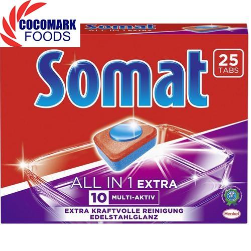 Viên rửa ly bát dùng cho máy rửa chén hiệu  Somat Allin 1 Extra 25(Viên)
