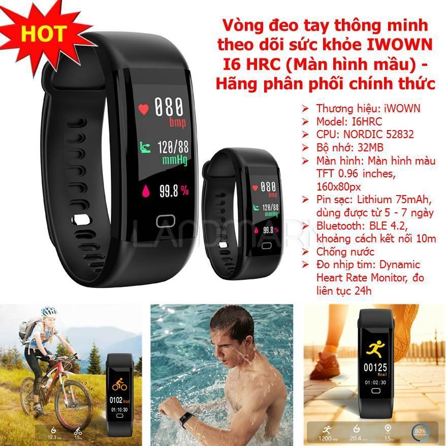 Đồng hồ thông minh chống nước, Đồng hồ thông minh smartwatch , Vòng Tay Thông Minh Theo Dõi Sức Khỏe I6 Hrc , Bộ Nhớ 32 Mb , Bluetooth 4.2 Kết Nối Điện Thoại , Chống Nước , Đo Nhịp Tim Liên Tục Cả Ngày , Bảo Hành Chất Lượng tại Landmark