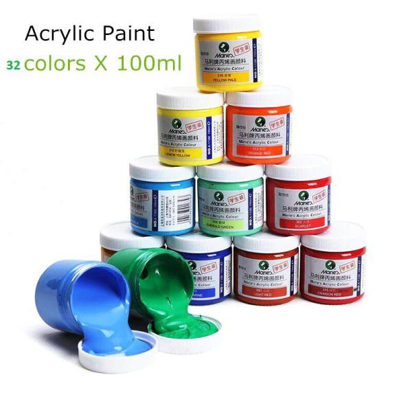Mua [ Bán lẻ 1 hũ ] Màu acrylic maries 100ml, 32 màu tùy chọn.Màu vẽ chuyên nghiệp  vẽ trên mọi chất liệu như gỗ, nhựa, thủy tinh và có thể vẽ tranh tường.