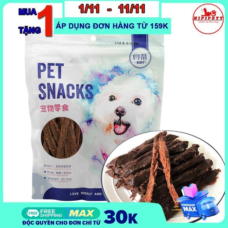 Thức ăn cho chó Bidy Pet Snack thịt bò sấy khô ,thức ăn thưởng cho chó tăng cường dưỡng chất -400g