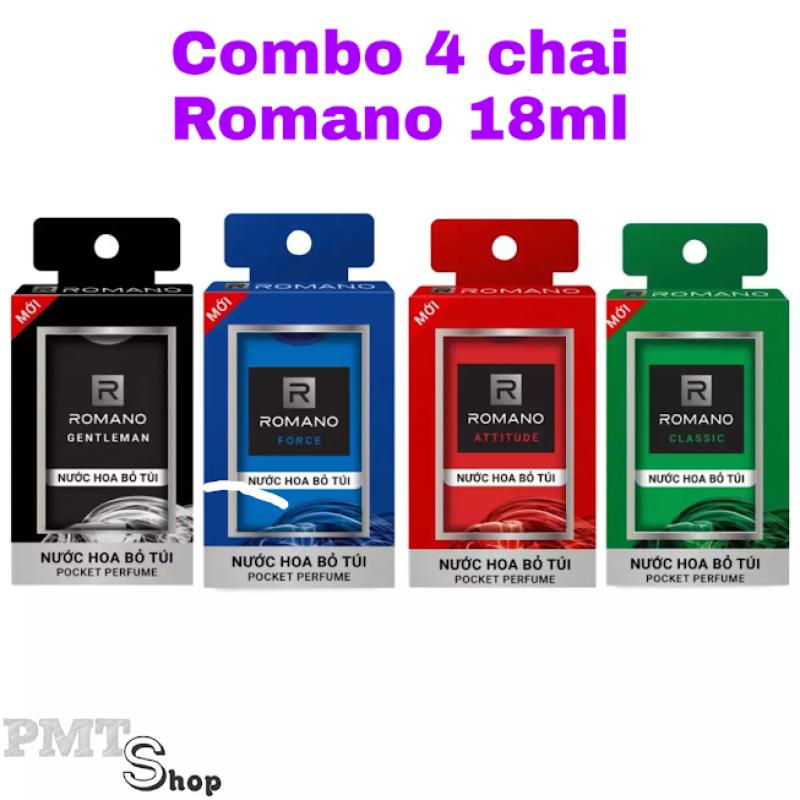 Combo 4 Nước hoa bỏ túi Romano Classic, Attitude, Force, Gentleman nồng ấm quyến rũ 18ml x 4 chai - 250 lần xịt mỗi chai cao cấp