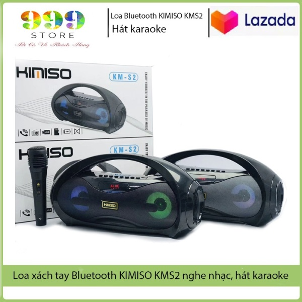 Loa Bluetooth xách tay karaoke, loa bluetooth không dây tặng kèm Mic hát, loa KMS2 hỗ trợ thẻ nhớ, đài FM
