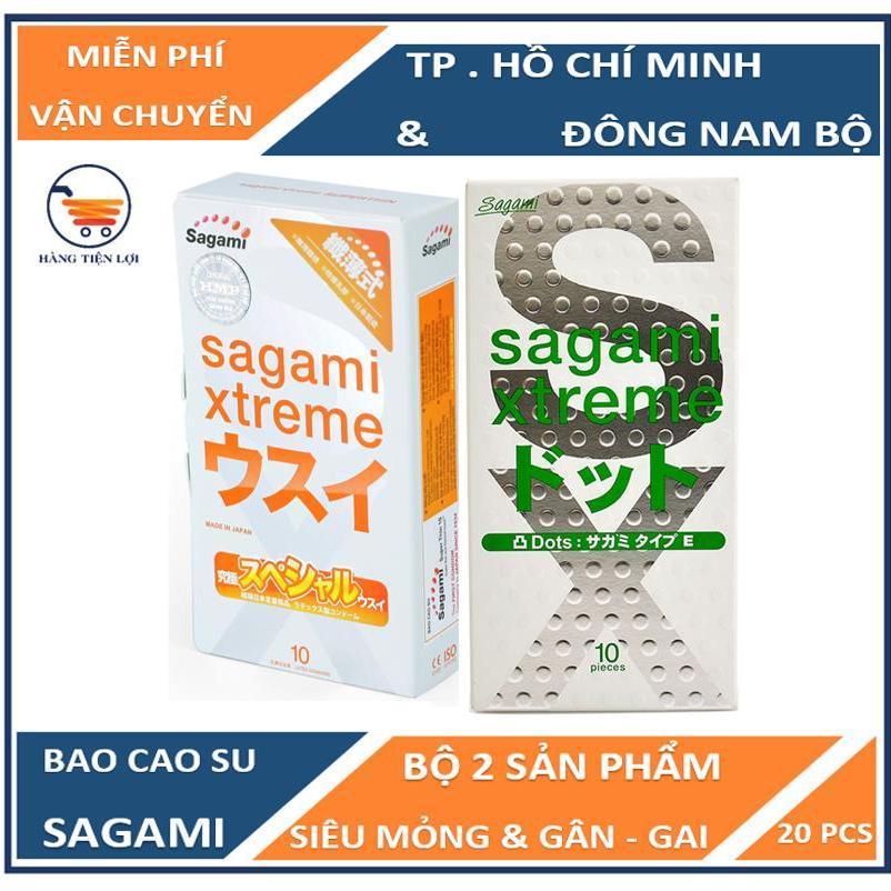 Bộ Bao cao su có gân và gai siêu mỏng Sagami Extreme White 10 bao và Bao cao su siêu mỏng co dãn Sagami Xtreme Super Thin 10 bao