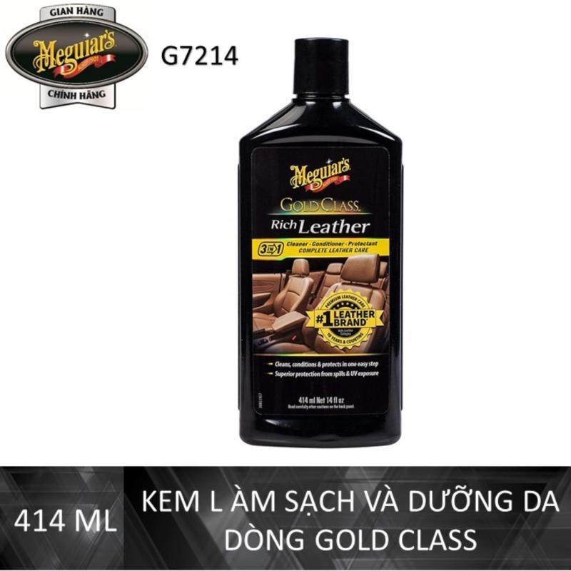 Meguiars Kem làm sạch và dưỡng da dòng Gold Class - Rich Leather Lotion - G7214, 14 oz, 414 ml
