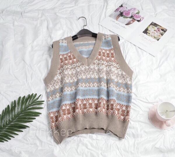 Áo len gile thổ cẩm phong cách thời trang thu đông - Pinkkee