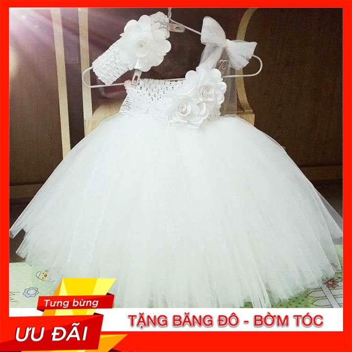 Giá bán Đồ Bé Gái / Đầm Bé Gái / ĐẦm Công Chúa Trắng Hoa Hồng