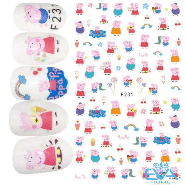 Miếng Dán Móng Tay 3D Nail Sticker Hoạt Hình Heo Peppa F231 giá rẻ