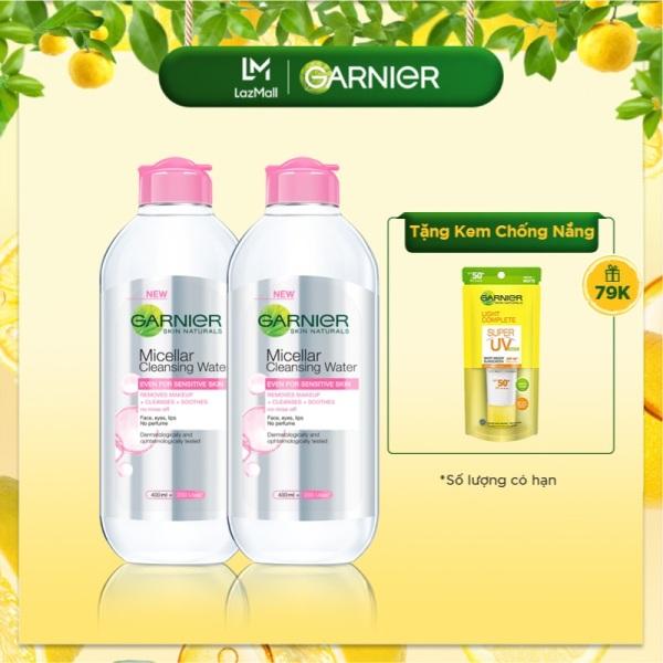 Bộ đôi nước làm sạch và tẩy trang cho da nhạy cảm Garnier Micellar Water 400ml giá rẻ