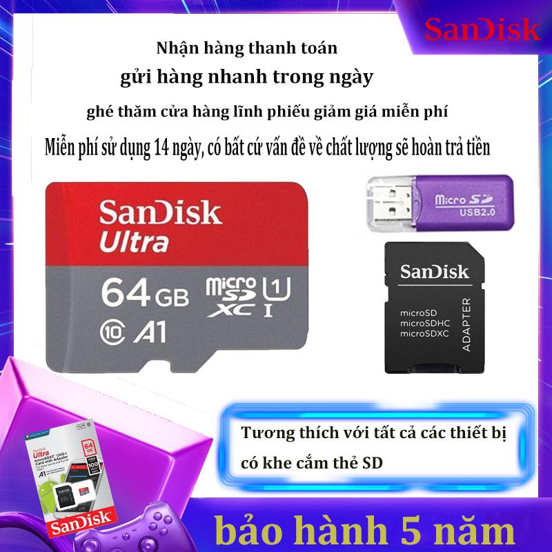 [Giảm giá / triết khấu 12% ] Thẻ nhớ SanDisk 64GB (Tặng kèm đầu đọc thẻ) – SanDisk Ultra MicroSD – CHÍNH HÃNG – Bảo hành 10 năm