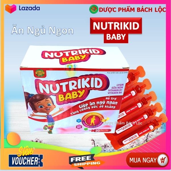Siro Ăn ngủ ngon Nutrikid baby - Bổ sung Lysin, Vitamin B1, B6 giúp bé ăn ngon, ngủ tốt, tăng sức đề kháng- Hộp 20 ống cao cấp