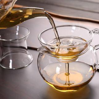 1x bộ lọc trà thủy tinh có tay cầm, cho lá lỏng lẻo dụng cụ pha trà rây lọc trà