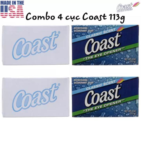 [USA] Combo 4 cục Xà bông Coast 113g diệt khuẩn, khử mùi Classic scent the eye opener - Mỹ