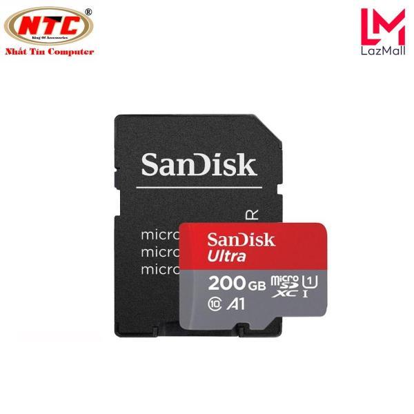 Thẻ nhớ MicroSDXC SanDisk Ultra A1 200GB Class 10 U1 100MB/s kèm adapter - Model 2018 (Xám đỏ) - Nhat Tin Authorised Store