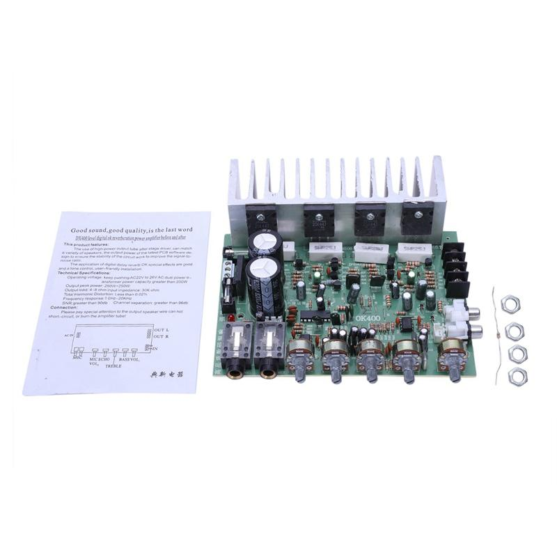 Audio Amplifier Board Hifi Digital Reverb Power Amplifier 250W X 2 2.0 Audio Preamp Rear Amplification With Tone Control E3-004 Giảm Cực Hot
