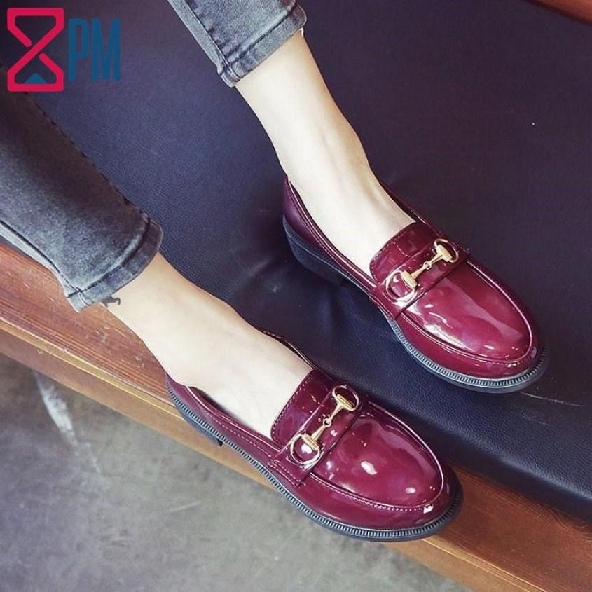 Giày Da Bóng Nữ Oxford Giày Mọi Trang Trí Khuy Vàng Đẹp Sang Trọng G0405 giá rẻ