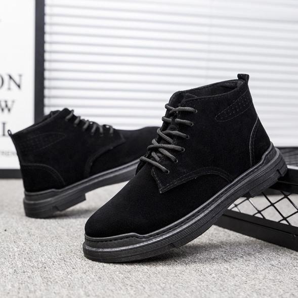 Giày cổ cao nam da lộn đen trơn Basicc kiểu dáng đơn giản giá rẻ