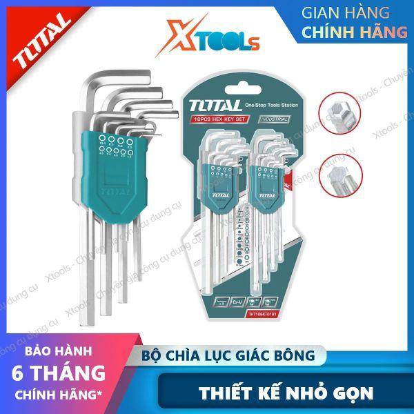 Bộ chìa lục giác bi và lục giác bông TOTAL THT106KT0181 Lục giác làm từ chất liệu Cr-V cao cứng cáp, chịu lực cao, sử dụng dễ dàng tiện lợi [XTOOLs] [XSAFE]