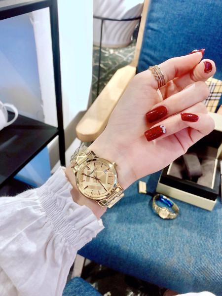 Đồng hồ nữ dây kim loại BURBERY9108 thép không gỉ Size 34mm - FULLBOX,Đồng hồ nữ mặt tròn, Đồng hồ nữ chống nước dành cho phái nữ bán chạy