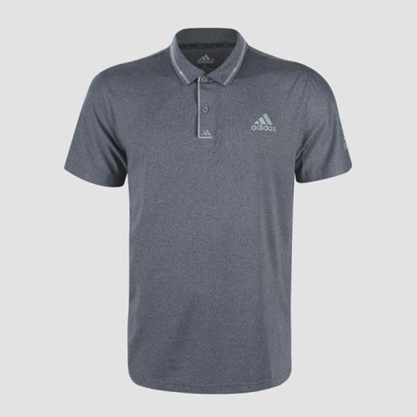 Áo thun nam Adidas viền sọc cổ bẻ màu xám AT569