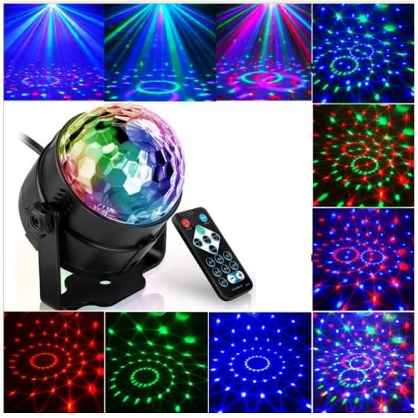 Đèn LED 7 màu vũ trường cảm ứng nhạc bóng đèn LED trụ đèn LED xoay nhiều màu sân khấu chớp theo nhạc