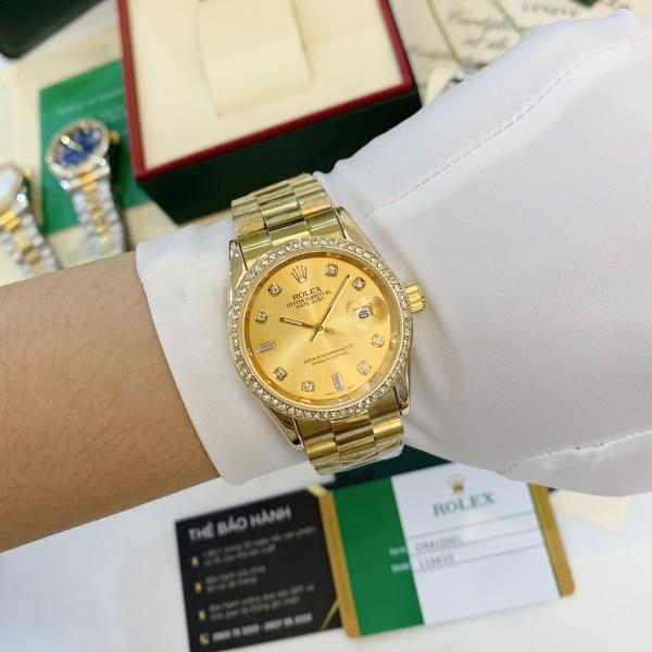 Nơi bán Đồng hồ nam Rlex dây thép không gỉ , viền đá sang trọng , đẳng cấp , dành cho phái mạnh