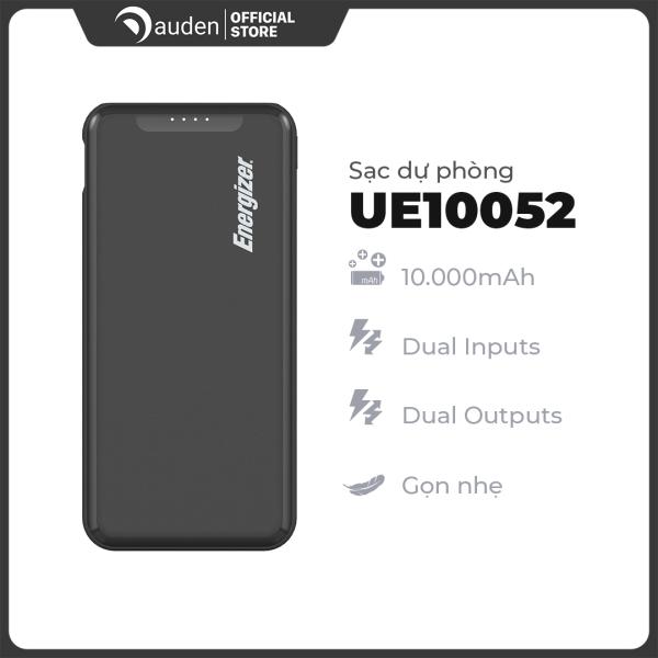 Sạc dự phòng Energizer UE10052 10,000mAh hỗ trợ sạc nhanh, thiết kế sang trọng, gọn nhẹ, tích hợp 2 cổng outputs - Dâu Đen Store
