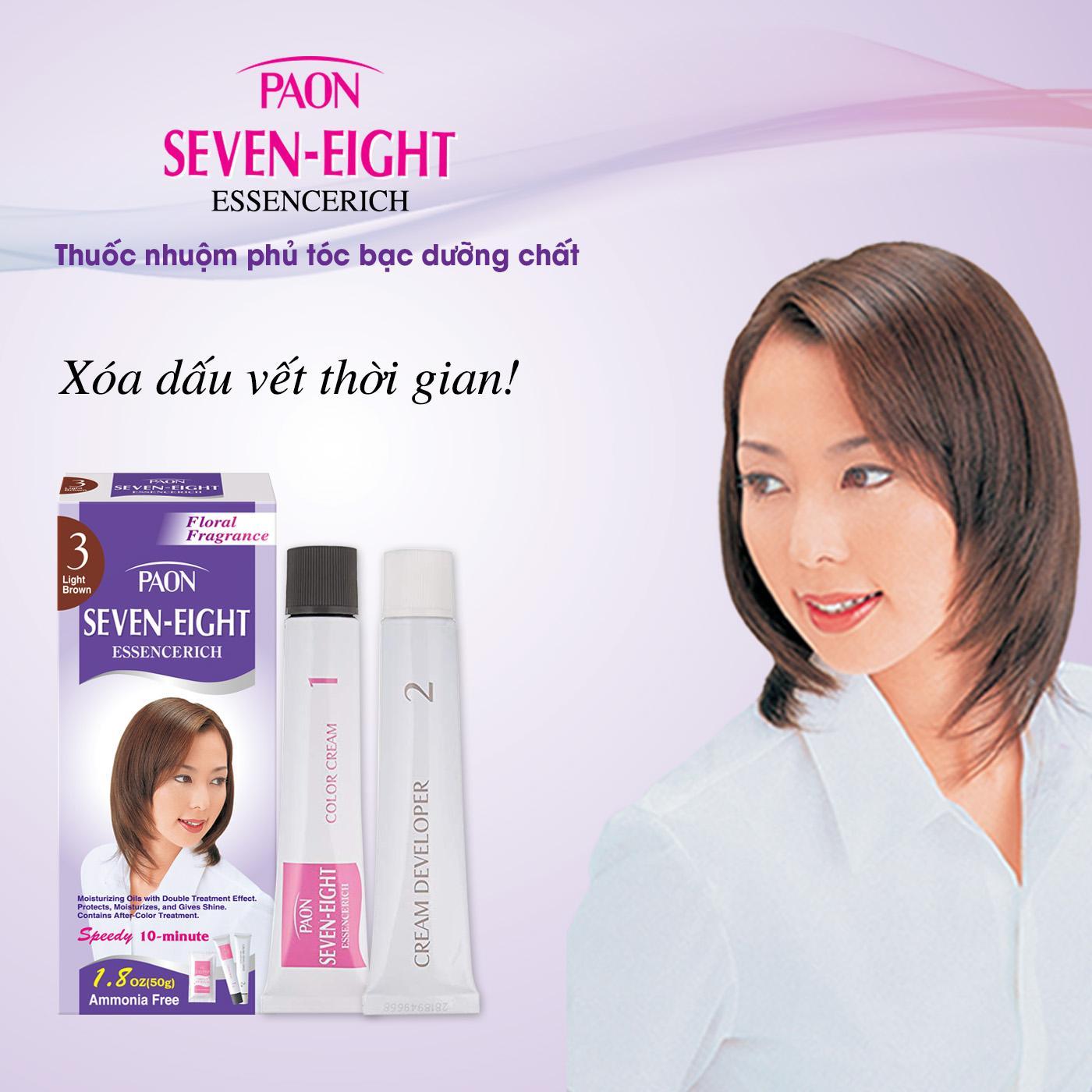 Thuốc nhuộm phủ tóc bạc dưỡng chất hương hoa cỏ SEVEN-EIGHT ESSENCERICH - NHẬT BẢN- số 3 Light Brown - Nâu sáng