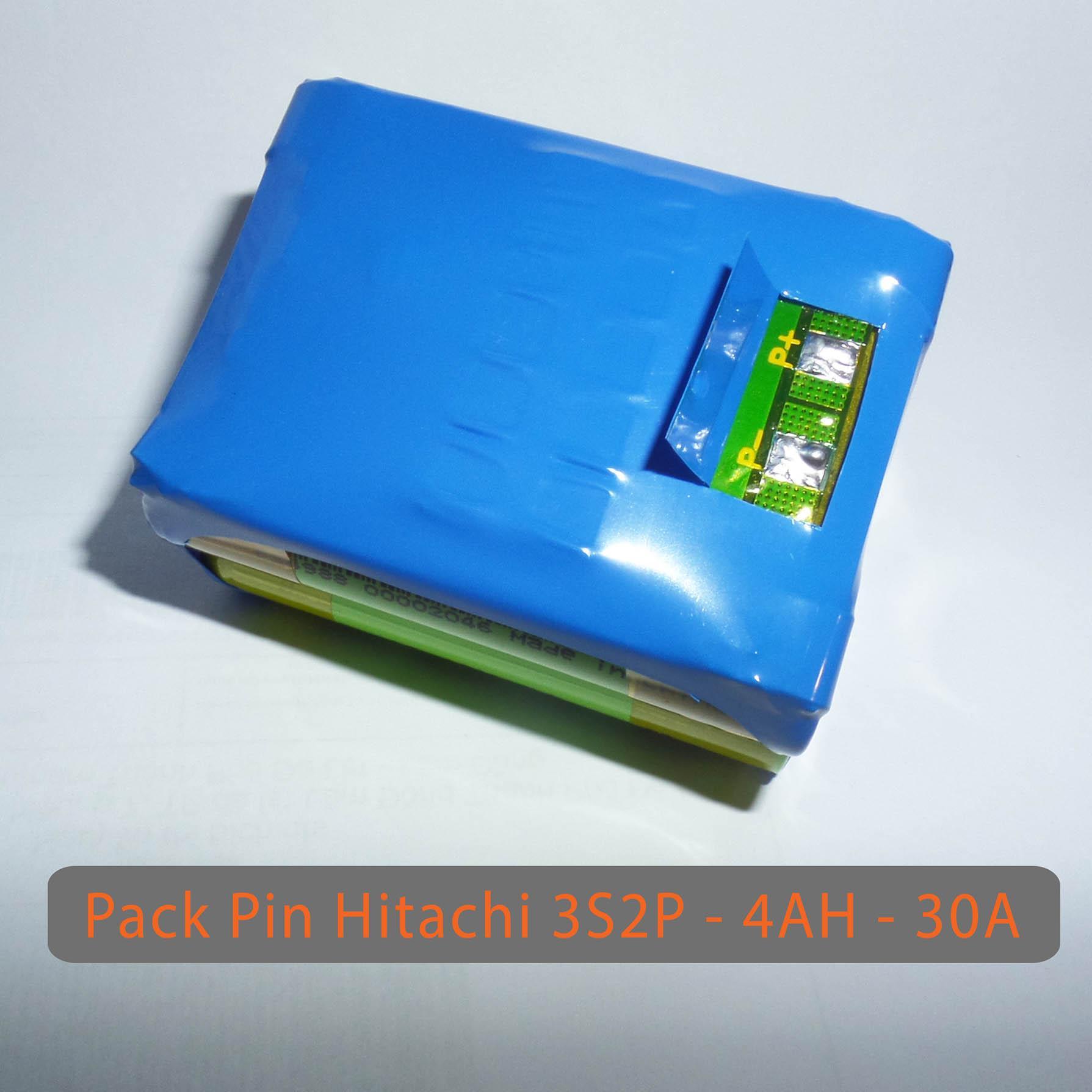 Pack PIN HITACHI 12V LiShen 3S2P - dung lượng 4AH - Dòng xả 30A - Full mạch bảo vệ và sạc cân bằng
