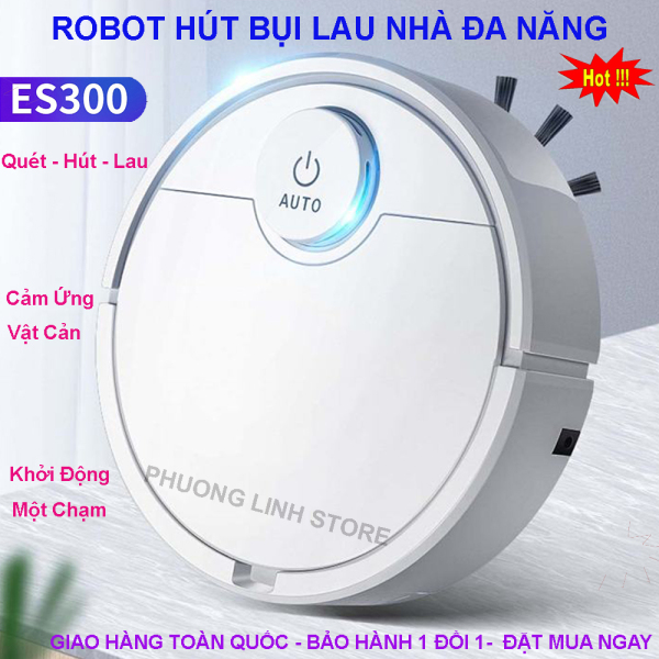 Robot Hút Bụi Lau Nhà Thông Minh, Robot Tự Động Lau Nhà ES300, Robot Hút Bụi Lau Nhà. Tự Động Phát Hiện Khi Gặp Các Vật Cản , Dễ Dàng Làm Sạch Các Vị Trí Khó Như Gầm Giường, Tủ, Robot Vận Hành Êm Ái Không Có Tiếng Ồn. Giá Cực Sốc, Hãy