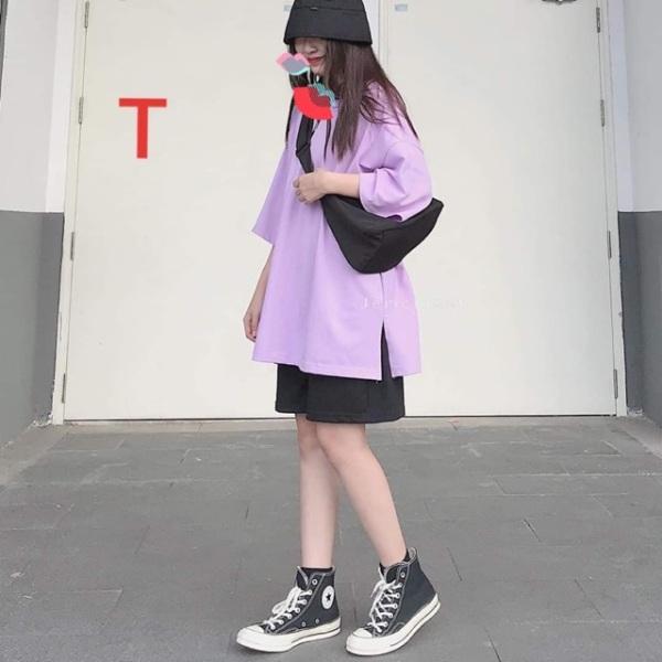 Sét Bộ Đồ Nữ Mặc Đi Chơi Dạo Phố, Mặc Ở Nhà Chất Liệu Cotton Mềm Mịn Mát, Phong Cách Teen Hàn Quốc- Linh Tây Fashion Chuyên Phối Sét Áo Thun Cotton Organic-Sét áo tím xẻ