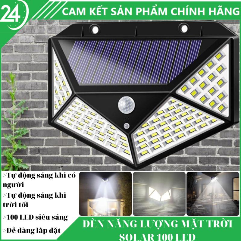 Đèn Năng Lượng Mặt Trời Solar 100 Led - Tự động sáng khi trời tối, tự động sáng khi có người đến gần, chống nước chống bụi chuẩn IP66 ,sử dụng 6 tiếng, ánh sáng tỏa đều với 100 bóng led