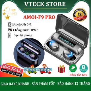 [Flash Sale] Tai nghe bluetooth F9 Pro Eco Tony, Tai nghe không dây kèm dock sạc dự phòng 3500 mAh, công nghệ Bluetooth 5.0, chống thấm nước, chống bụi, pin trâu thumbnail