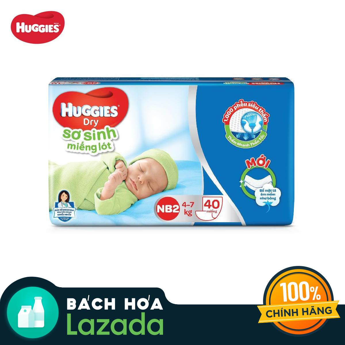 [Siêu thị Lazada] - Miếng lót sơ sinh Huggies Newborn 2 (4-7kg) - N40 (Gói 40 miếng)