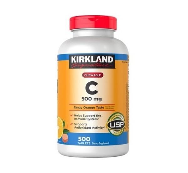 Viên Nhai Bổ Sung Vitamin C 500mg Kirkland Của Mỹ, 500 viên - DATE T4/2023