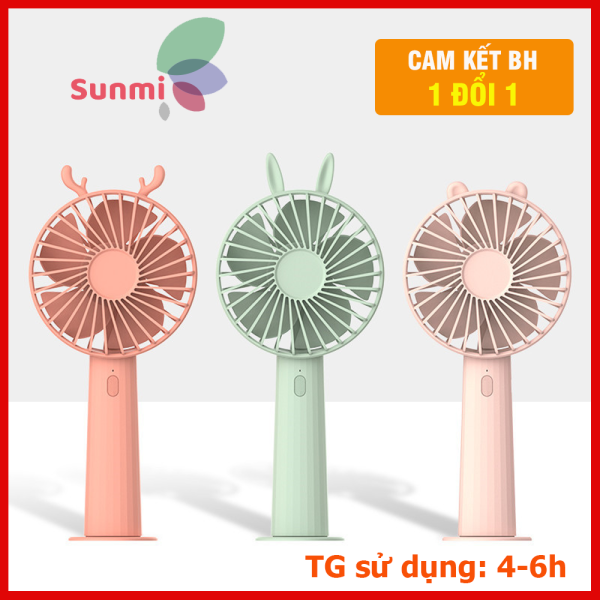 Quạt Cầm Tay Mini Pin Tâu Tai Hình Thú - Quạt Để Bàn 3 Cấp Độ Gió Siêu Mát Gió Êm Bảo Hành 1 Đổi 1