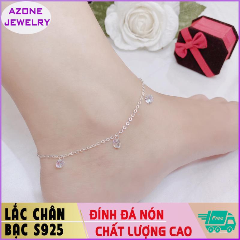 Lắc chân   Lắc chân bạc   Lắc chân nữ đính đá hình nón Bạc S925 [FREESHIP] Hàng đẹp Khóa móc dễ dàng tháo lắp và tùy chỉnh kích thước #AZLC002 - Azone Jewelry