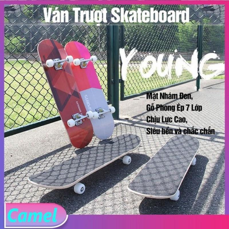 ( XẢ CƯC SỐC SALE 50% ) Ván Trượt Skateboard Mặt Nhám Đen, Gỗ Phong Ép 7 Lớp, Chịu Được Trọng Tải Tới 60kg, Ván Trượt Người Lớn- Kailas