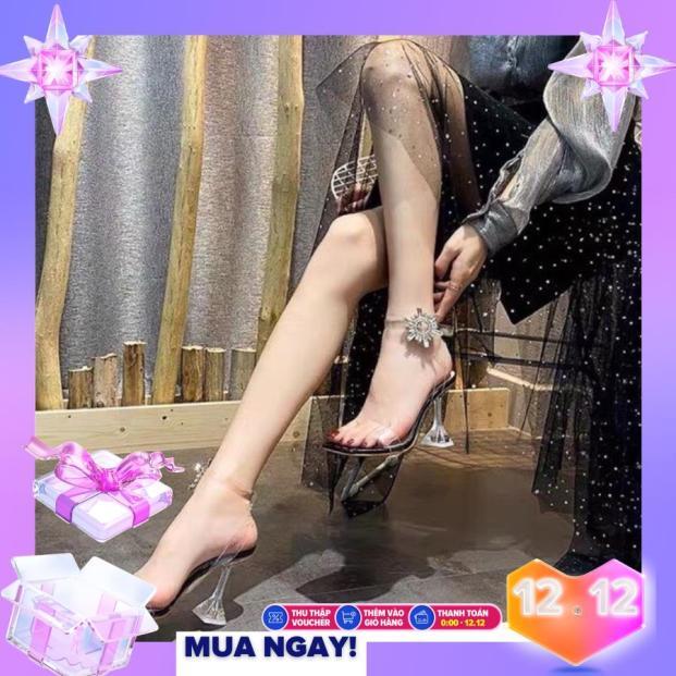 (kèm ảnh thật) Giày Cao Gót Nhọn 9p Quai Mica Khoá Gài Mặt Trời ( mũi giày vuông tròn) giá rẻ