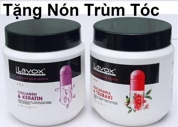 [500ml] 1 hủ kem hấp dầu ủ phục hồi tóc hư tổn nặng  Collagen & Keratin Lavox  chống khô xơ, gẫy rụng (tặng nón trùm tóc)) giá rẻ