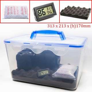 Combo hộp chống ẩm có tay cầm và ẩm kế, 100gram hạt hút ẩm xanh cho máy ảnh, máy quay phim - dung tích 8 lít (tặng mút xốp lót hộp) - PHUKIEN2T-Q01105