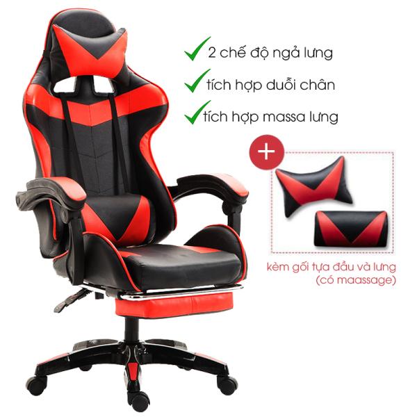 Ghế game bọc da cao cấp có ngả lưng gác chân Ghế game thủ Ghế xoay chơi game có đệm Massage lưng và gối tựa đầu Ghế xoay cao cấp Ghế gamming livestream giá rẻ