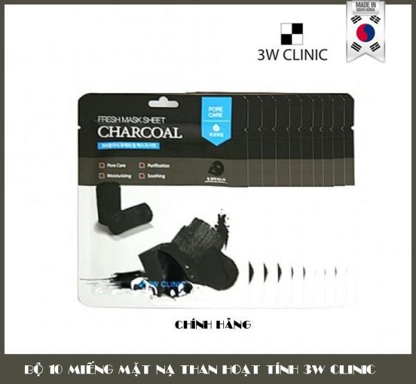 Bộ 10 Miếng Mặt Nạ Dưỡng Da Than Hoạt Tính 3w Clinic Charcoal Fresh Mask Sheet 10X23ml