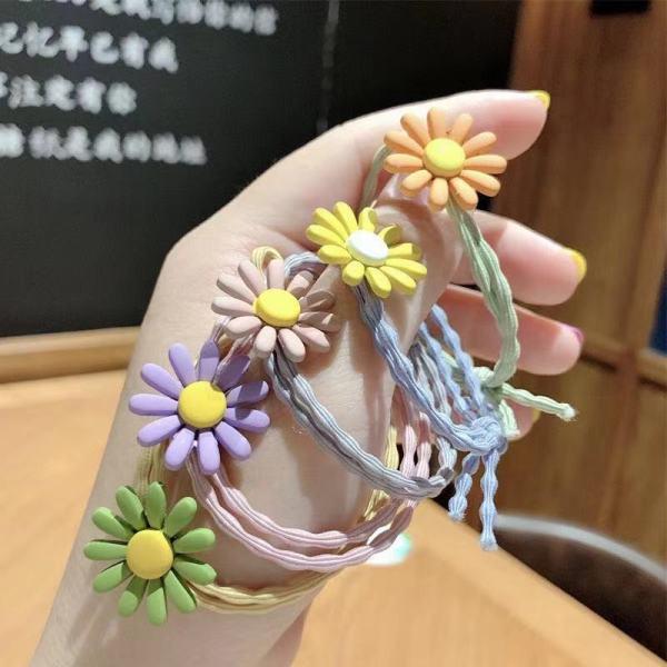 Giá bán Set 10 Dây Buộc Tóc hoa cúc họa mi phong cách Hàn Quốc (Hàng nhập khẩu) - Đẹp, chất, dễ thương, chất liệu dây buộc cao cấp, mềm, co giãn tốt, không kén tóc