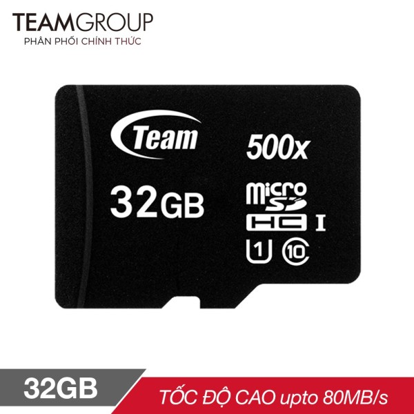 THẺ NHỚ MICROSDHC TEAM GROUP 32GB UPTO 80MB-S 500X CLASS 10 U1