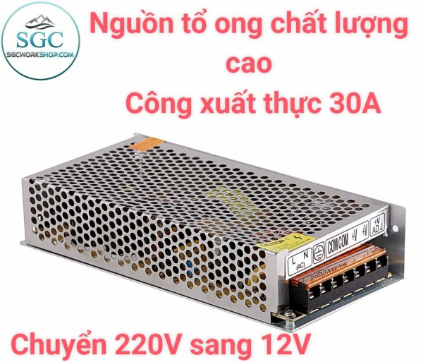 Nguồn Tổ Ong Chuyển 220V Sang 12V 30A Bảo Hành 1 Đổi 1 - Cho Máy Bơm Nước Mini V2